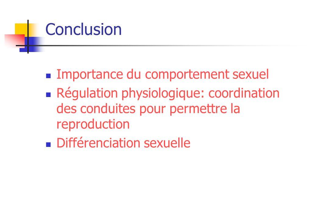 Conclusion Importance du comportement sexuel Régulation physiologique: coordination des conduites pour permettre la reproduction Différenciation sexue