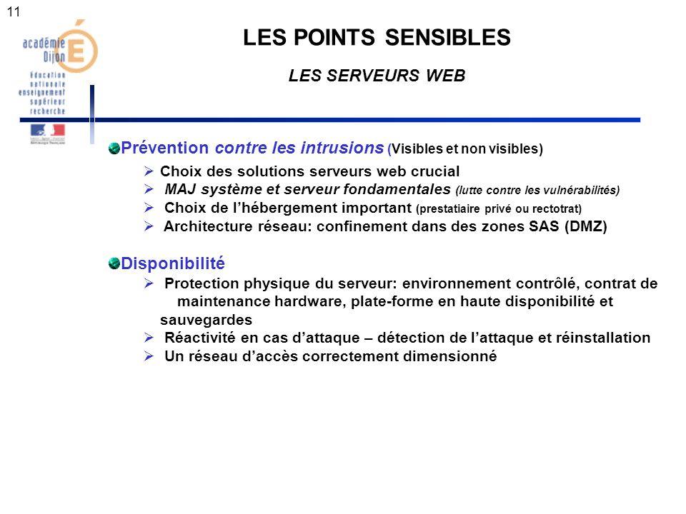 11 LES POINTS SENSIBLES LES SERVEURS WEB Prévention contre les intrusions (Visibles et non visibles) Choix des solutions serveurs web crucial MAJ syst