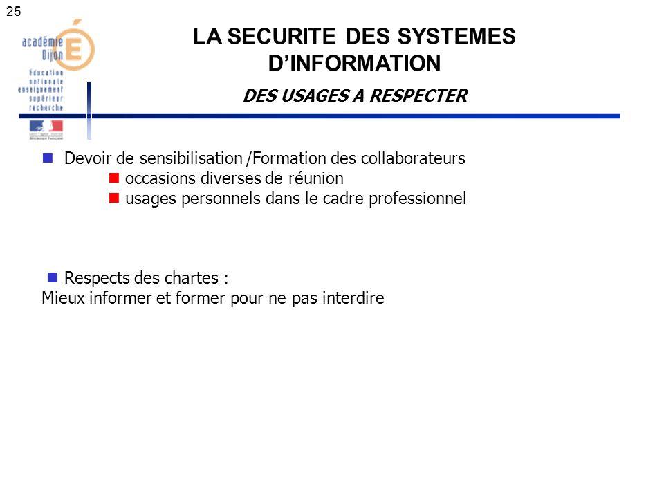 LA SECURITE DES SYSTEMES DINFORMATION DES USAGES A RESPECTER Devoir de sensibilisation /Formation des collaborateurs occasions diverses de réunion usa