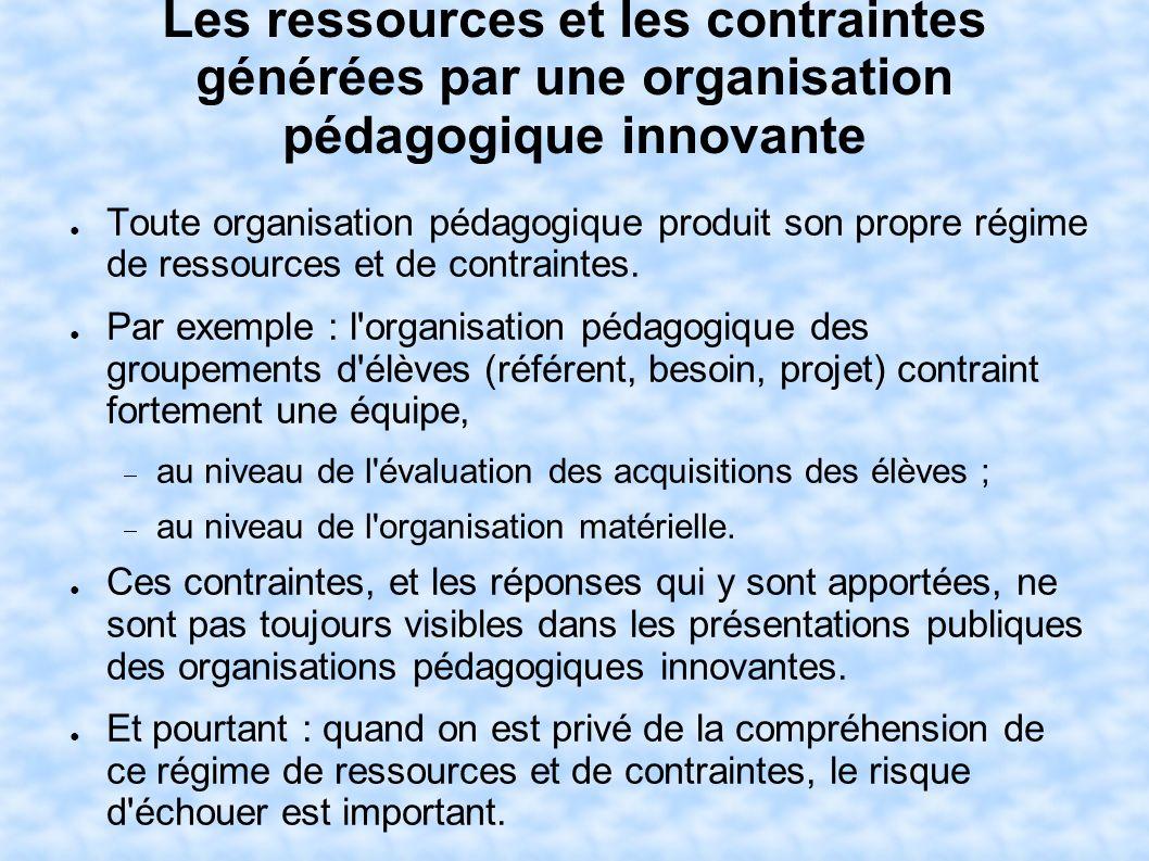 Les ressources et les contraintes générées par une organisation pédagogique innovante Toute organisation pédagogique produit son propre régime de ress