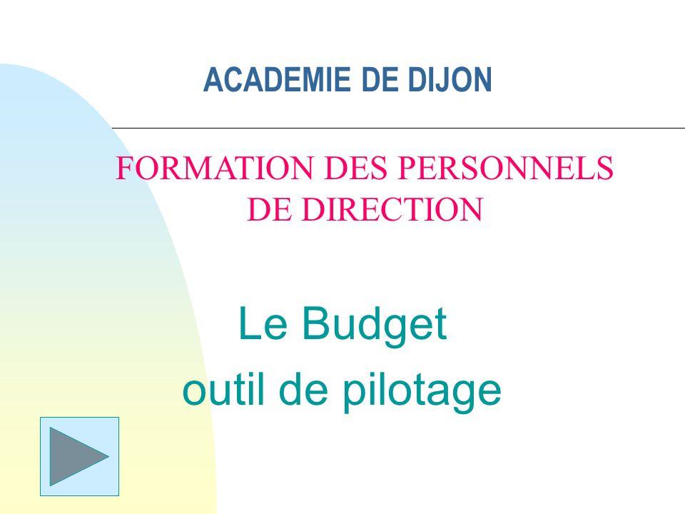 ACADEMIE DE DIJON Le Budget outil de pilotage FORMATION DES PERSONNELS DE DIRECTION