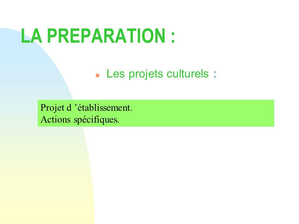 LA PREPARATION : n Les projets culturels : Projet d établissement. Actions spécifiques.