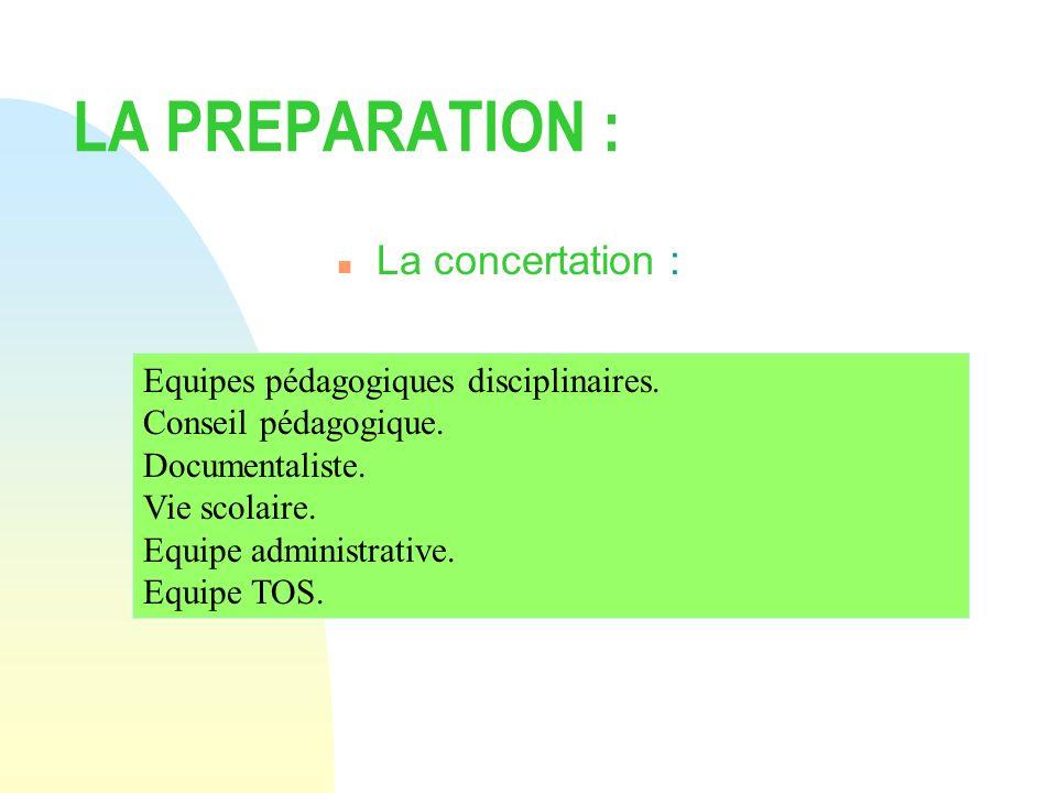 LA PREPARATION : n La concertation : Equipes pédagogiques disciplinaires. Conseil pédagogique. Documentaliste. Vie scolaire. Equipe administrative. Eq