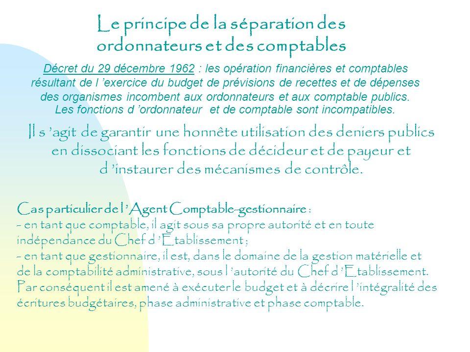 Le principe de la séparation des ordonnateurs et des comptables Décret du 29 décembre 1962 : les opération financières et comptables résultant de l ex