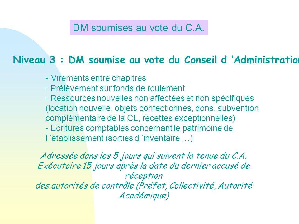 Niveau 3 : DM soumise au vote du Conseil d Administration - Virements entre chapitres - Prélèvement sur fonds de roulement - Ressources nouvelles non
