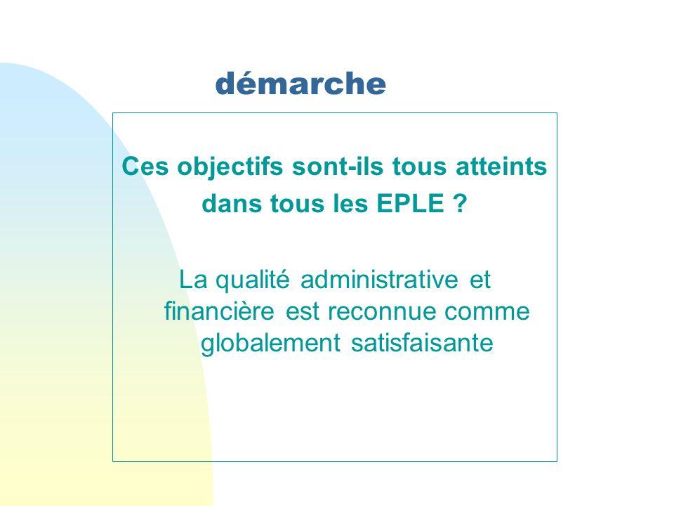 démarche Ces objectifs sont-ils tous atteints dans tous les EPLE ? La qualité administrative et financière est reconnue comme globalement satisfaisant