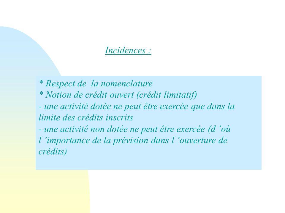 * Respect de la nomenclature * Notion de crédit ouvert (crédit limitatif) - une activité dotée ne peut être exercée que dans la limite des crédits ins