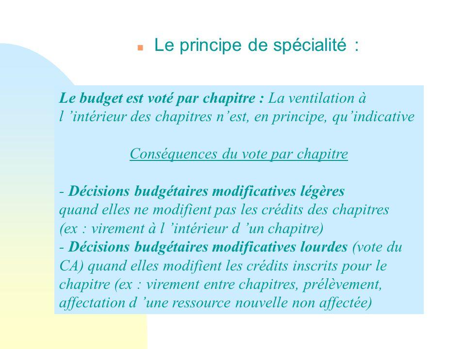n Le principe de spécialité : Le budget est voté par chapitre : La ventilation à l intérieur des chapitres nest, en principe, quindicative Conséquence