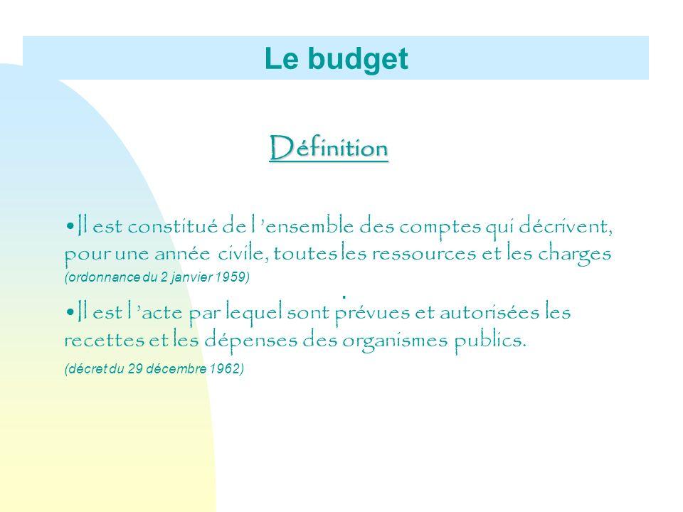Le budget Définition Il est constitué de l ensemble des comptes qui décrivent, pour une année civile, toutes les ressources et les charges (ordonnance