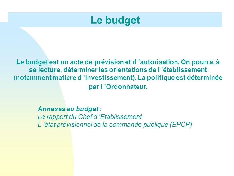 Le budget Le budget est un acte de prévision et d autorisation. On pourra, à sa lecture, déterminer les orientations de l établissement (notamment mat
