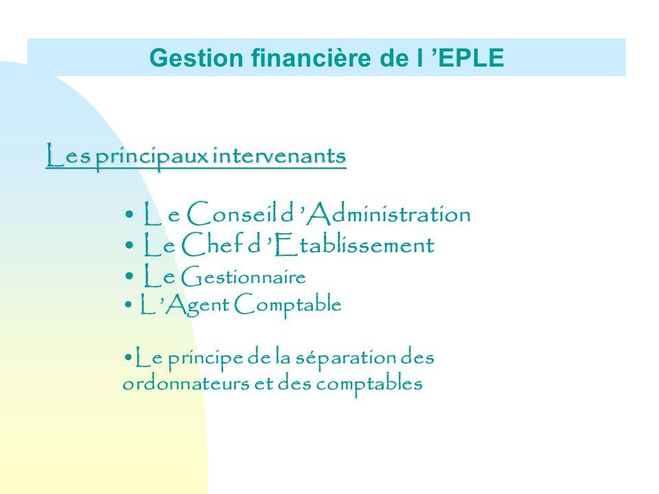 Gestion financière de l EPLE Les principaux intervenants L e Conseil d Administration Le Chef d Etablissement Le Gestionnaire L Agent Comptable Le pri