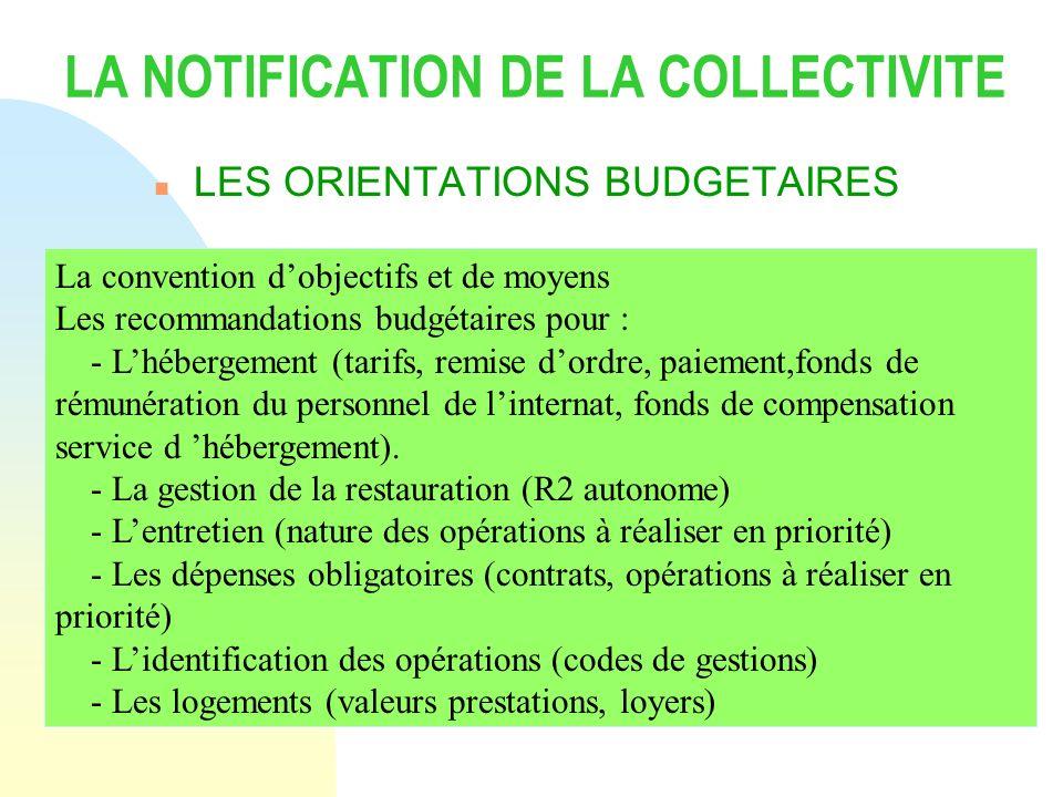 LA NOTIFICATION DE LA COLLECTIVITE n LES ORIENTATIONS BUDGETAIRES La convention dobjectifs et de moyens Les recommandations budgétaires pour : - Lhébe