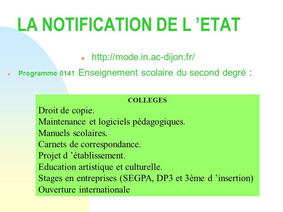 LA NOTIFICATION DE L ETAT n http://mode.in.ac-dijon.fr/ n Programme 0141 Enseignement scolaire du second degré : COLLEGES Droit de copie. Maintenance