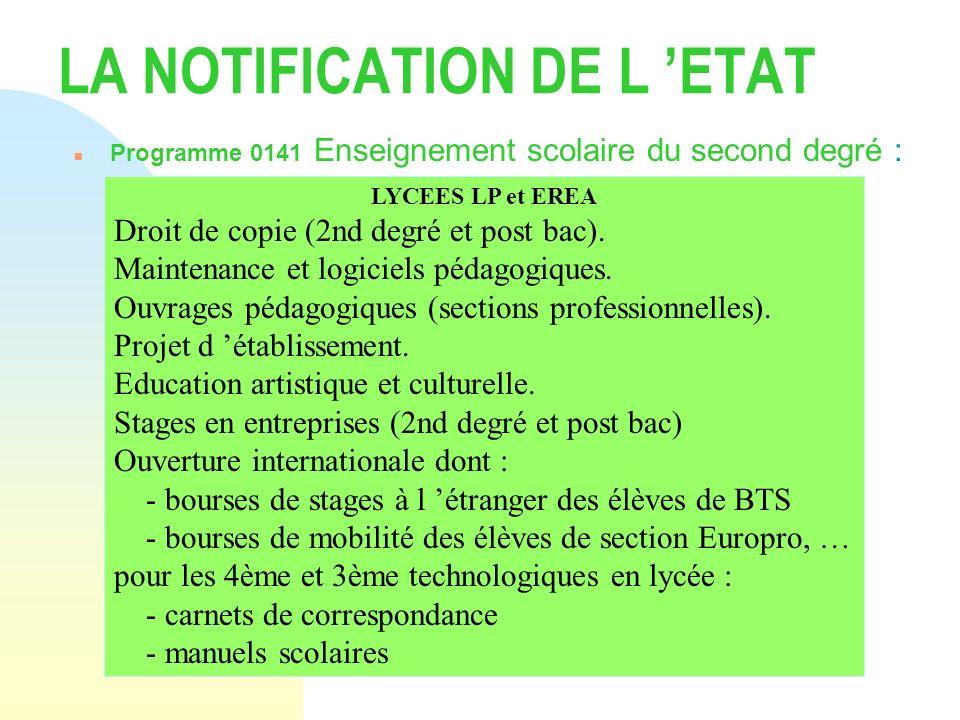 LA NOTIFICATION DE L ETAT n Programme 0141 Enseignement scolaire du second degré : LYCEES LP et EREA Droit de copie (2nd degré et post bac). Maintenan