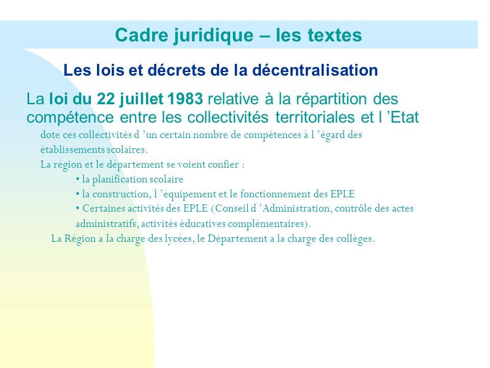 Les lois et décrets de la décentralisation La loi du 22 juillet 1983 relative à la répartition des compétence entre les collectivités territoriales et