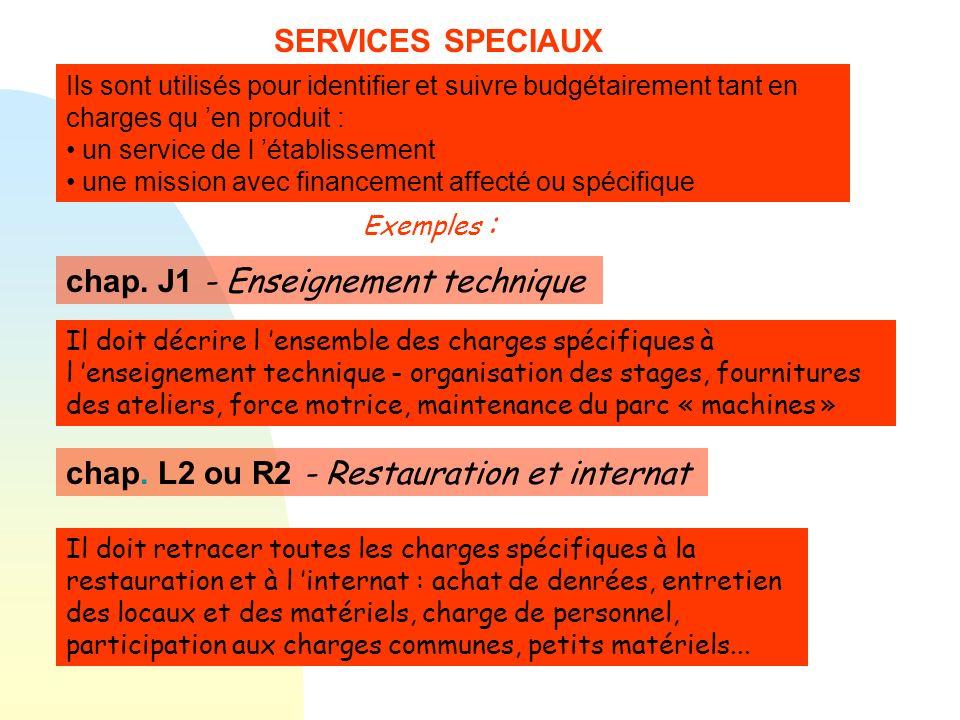 SERVICES SPECIAUX Ils sont utilisés pour identifier et suivre budgétairement tant en charges qu en produit : un service de l établissement une mission