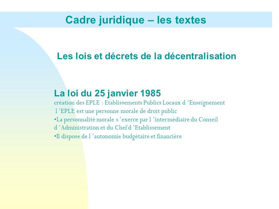 Les lois et décrets de la décentralisation La loi du 25 janvier 1985 création des EPLE : Etablissements Publics Locaux d Enseignement l EPLE est une p