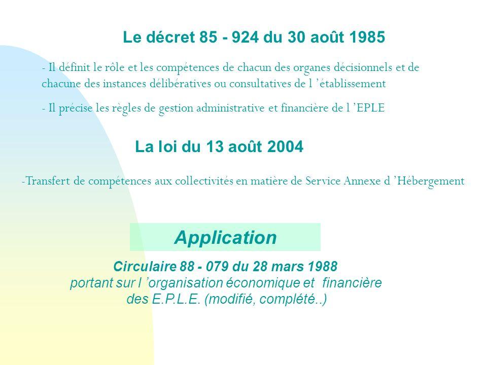 Le décret 85 - 924 du 30 août 1985 La loi du 13 août 2004 - Il définit le rôle et les compétences de chacun des organes décisionnels et de chacune des