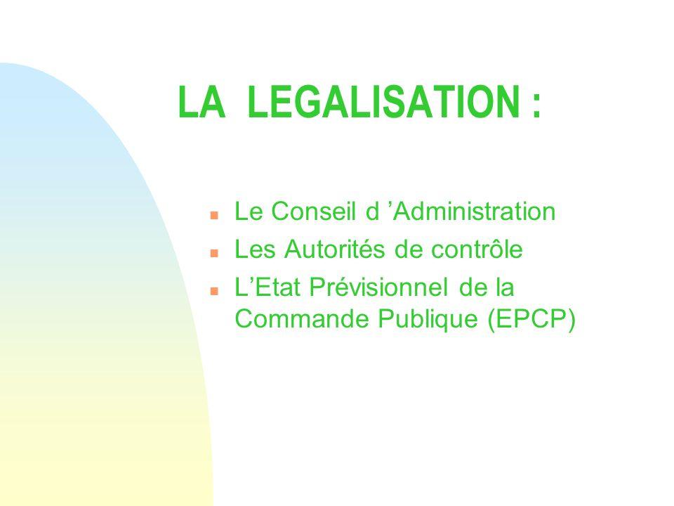 LA LEGALISATION : n Le Conseil d Administration n Les Autorités de contrôle n LEtat Prévisionnel de la Commande Publique (EPCP)