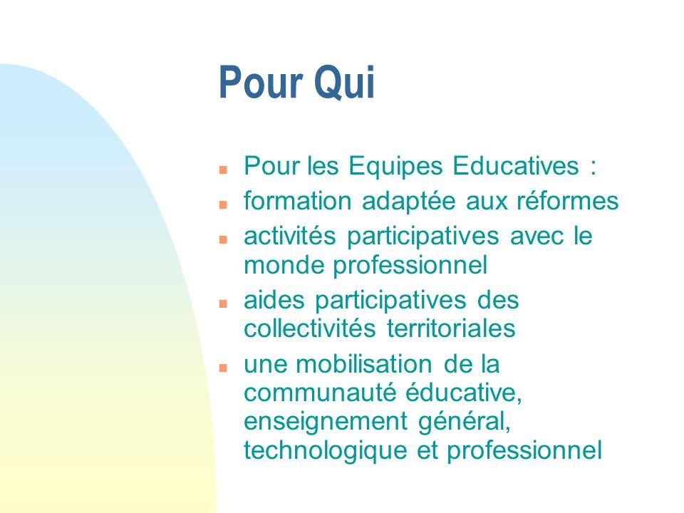 Pour Qui n Pour les Equipes Educatives : n formation adaptée aux réformes n activités participatives avec le monde professionnel n aides participative