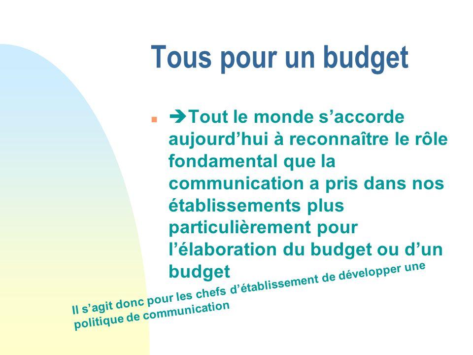 Tous pour un budget n Tout le monde saccorde aujourdhui à reconnaître le rôle fondamental que la communication a pris dans nos établissements plus par