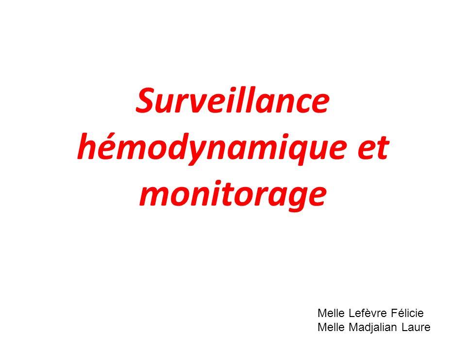 Surveillance hémodynamique et monitorage Melle Lefèvre Félicie Melle Madjalian Laure