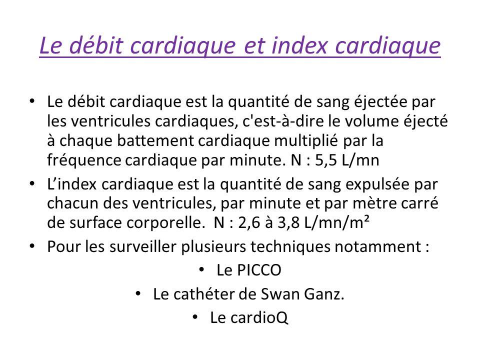 Le débit cardiaque et index cardiaque Le débit cardiaque est la quantité de sang éjectée par les ventricules cardiaques, c est-à-dire le volume éjecté à chaque battement cardiaque multiplié par la fréquence cardiaque par minute.
