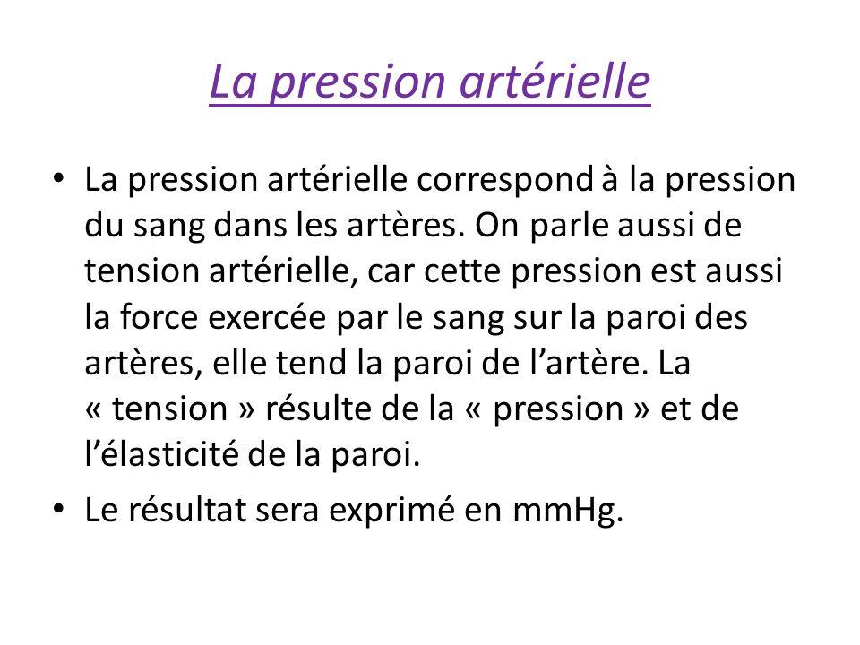 La pression artérielle La pression artérielle correspond à la pression du sang dans les artères.