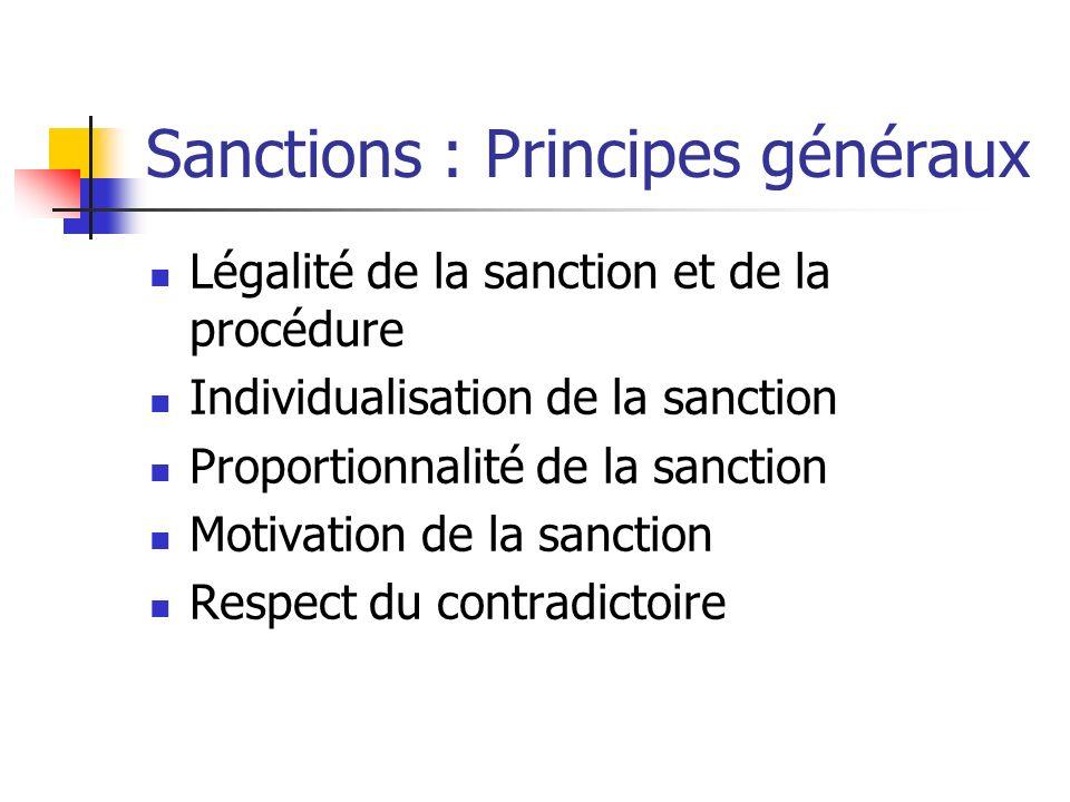 Sanctions : Principes généraux Légalité de la sanction et de la procédure Individualisation de la sanction Proportionnalité de la sanction Motivation