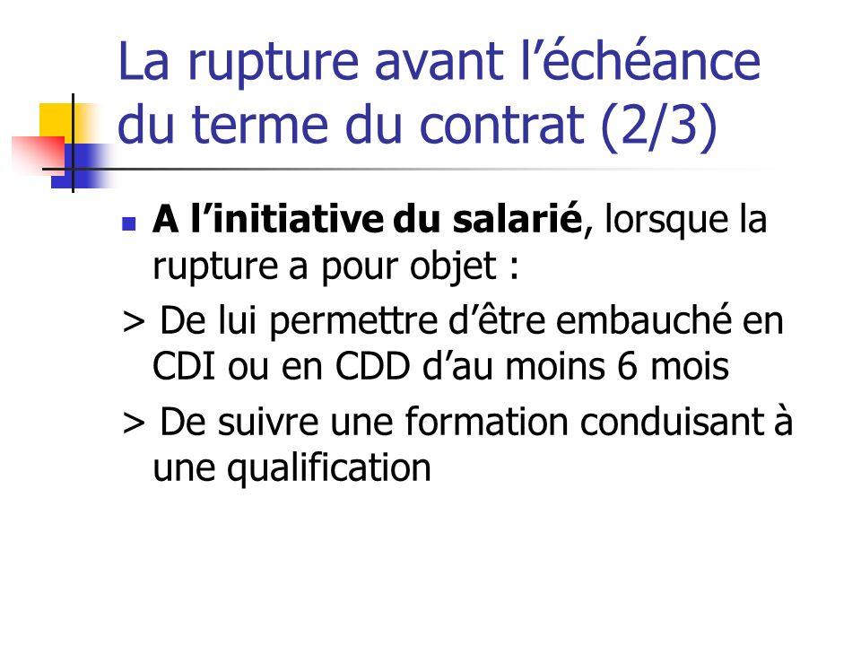 La rupture avant léchéance du terme du contrat (2/3) A linitiative du salarié, lorsque la rupture a pour objet : > De lui permettre dêtre embauché en