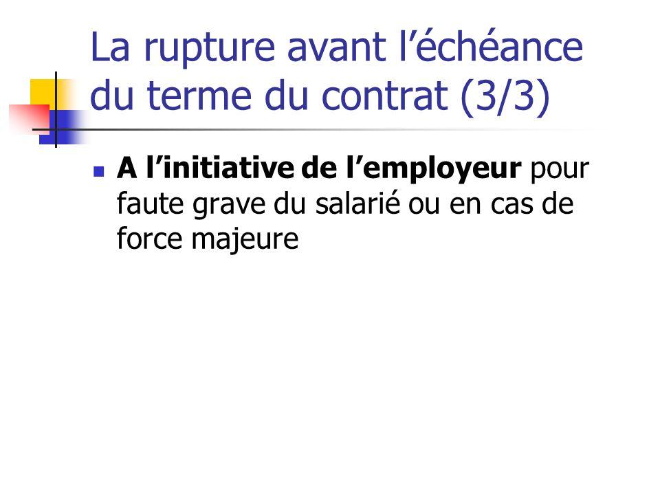 La rupture avant léchéance du terme du contrat (3/3) A linitiative de lemployeur pour faute grave du salarié ou en cas de force majeure