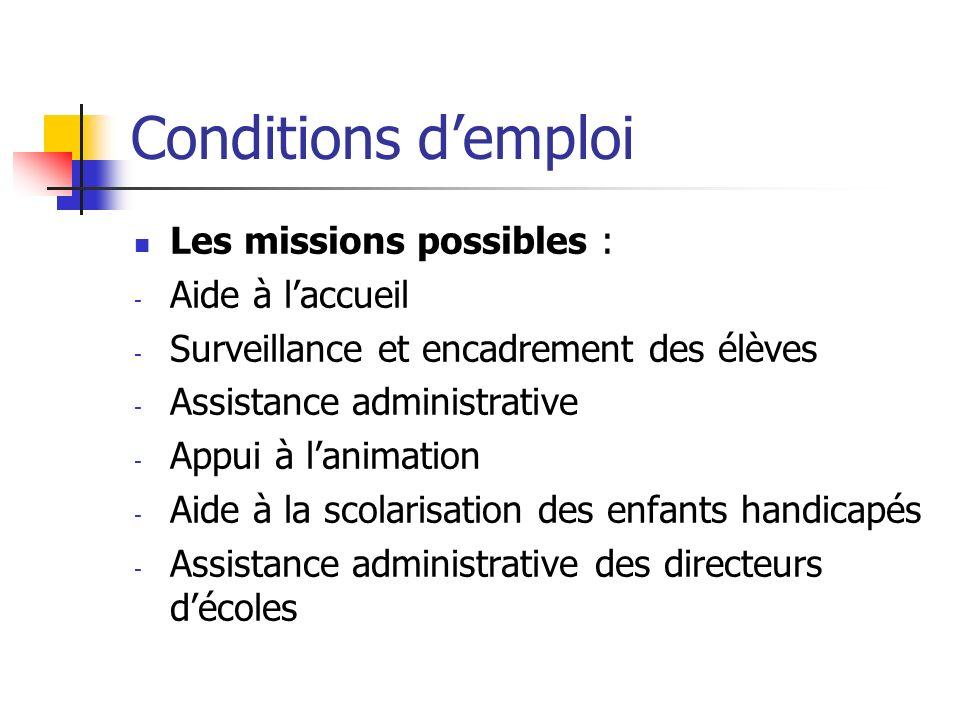 Conditions demploi Les missions possibles : - Aide à laccueil - Surveillance et encadrement des élèves - Assistance administrative - Appui à lanimatio