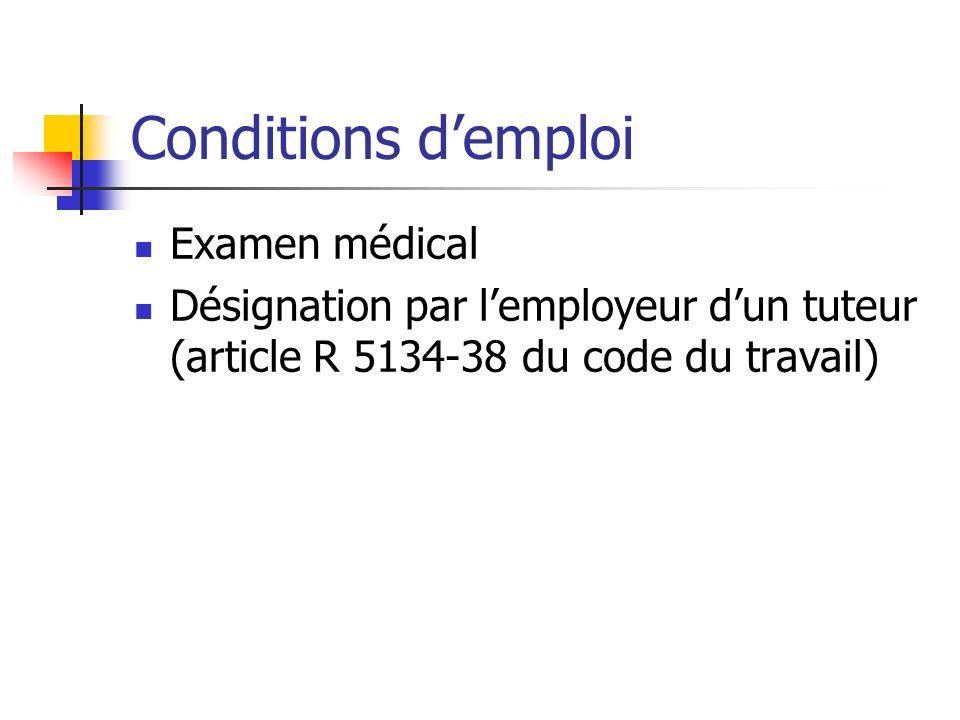Conditions demploi Examen médical Désignation par lemployeur dun tuteur (article R 5134-38 du code du travail)