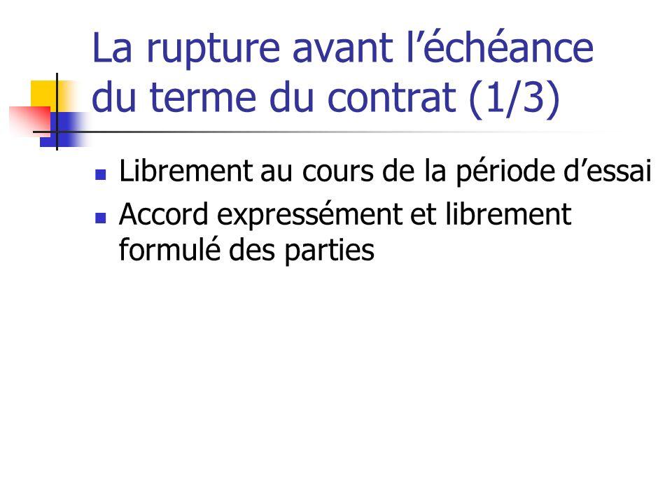 La rupture avant léchéance du terme du contrat (1/3) Librement au cours de la période dessai Accord expressément et librement formulé des parties