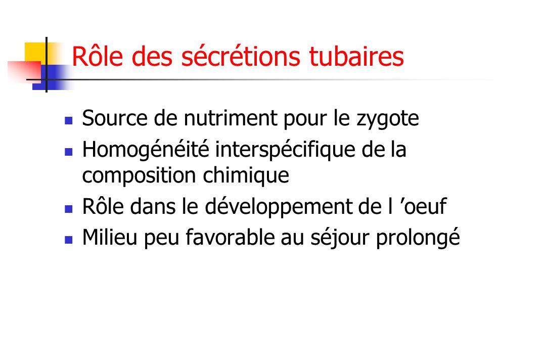 Rôle des sécrétions tubaires Source de nutriment pour le zygote Homogénéité interspécifique de la composition chimique Rôle dans le développement de l
