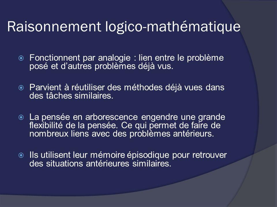Raisonnement logico-mathématique Fonctionnent par analogie : lien entre le problème posé et dautres problèmes déjà vus. Parvient à réutiliser des méth