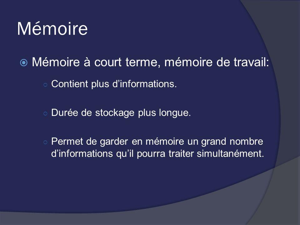 Mémoire Mémoire à court terme, mémoire de travail: Contient plus dinformations. Durée de stockage plus longue. Permet de garder en mémoire un grand no