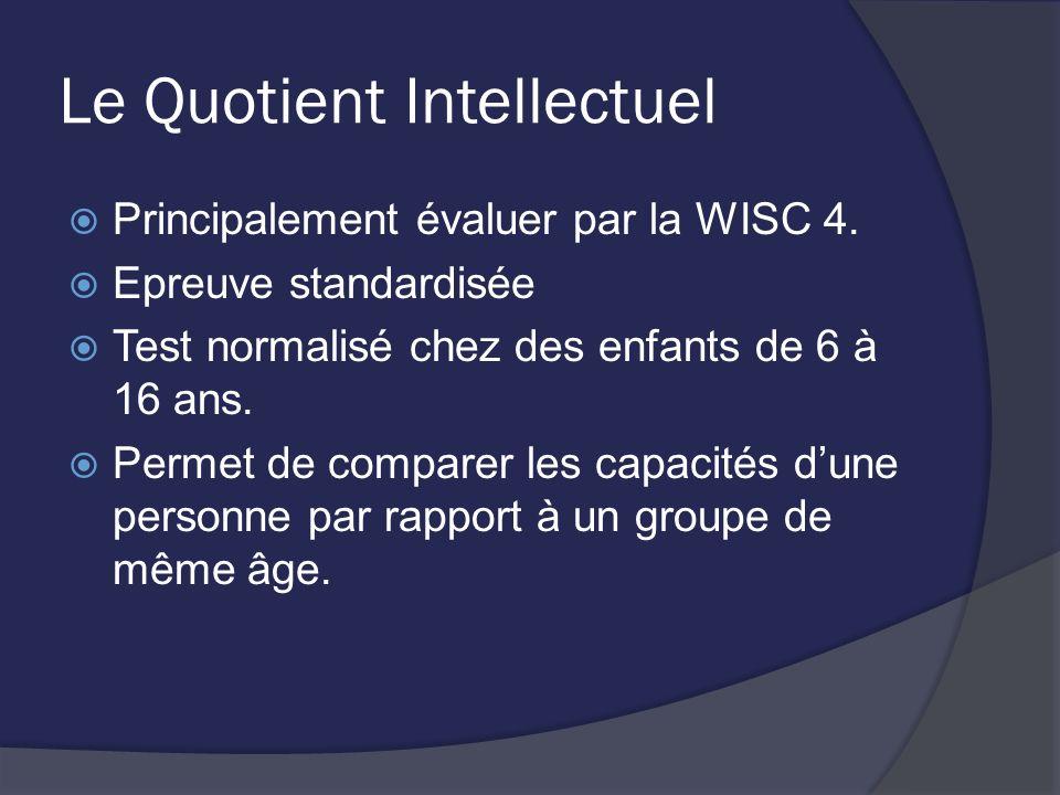 Le Quotient Intellectuel Principalement évaluer par la WISC 4. Epreuve standardisée Test normalisé chez des enfants de 6 à 16 ans. Permet de comparer
