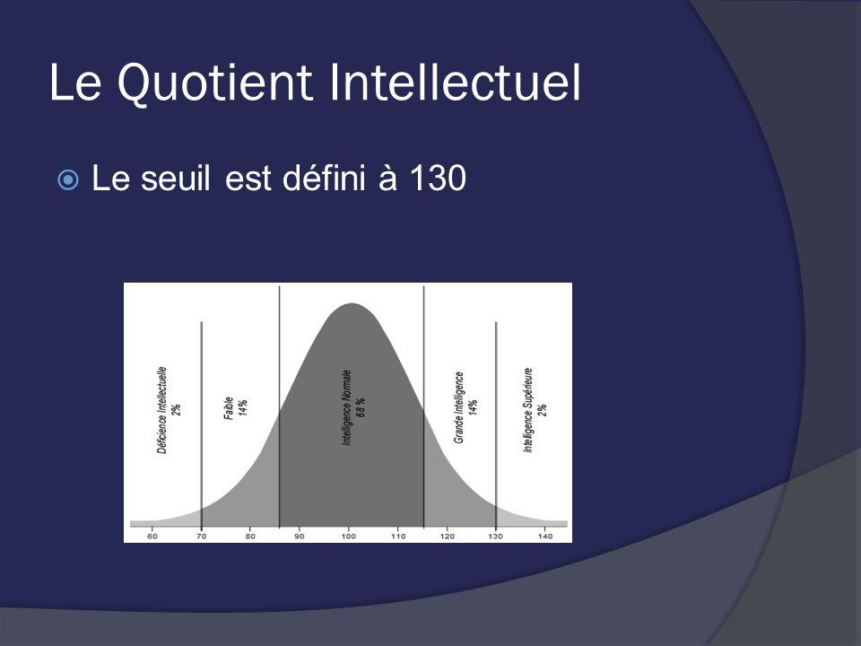 Le Quotient Intellectuel Le seuil est défini à 130