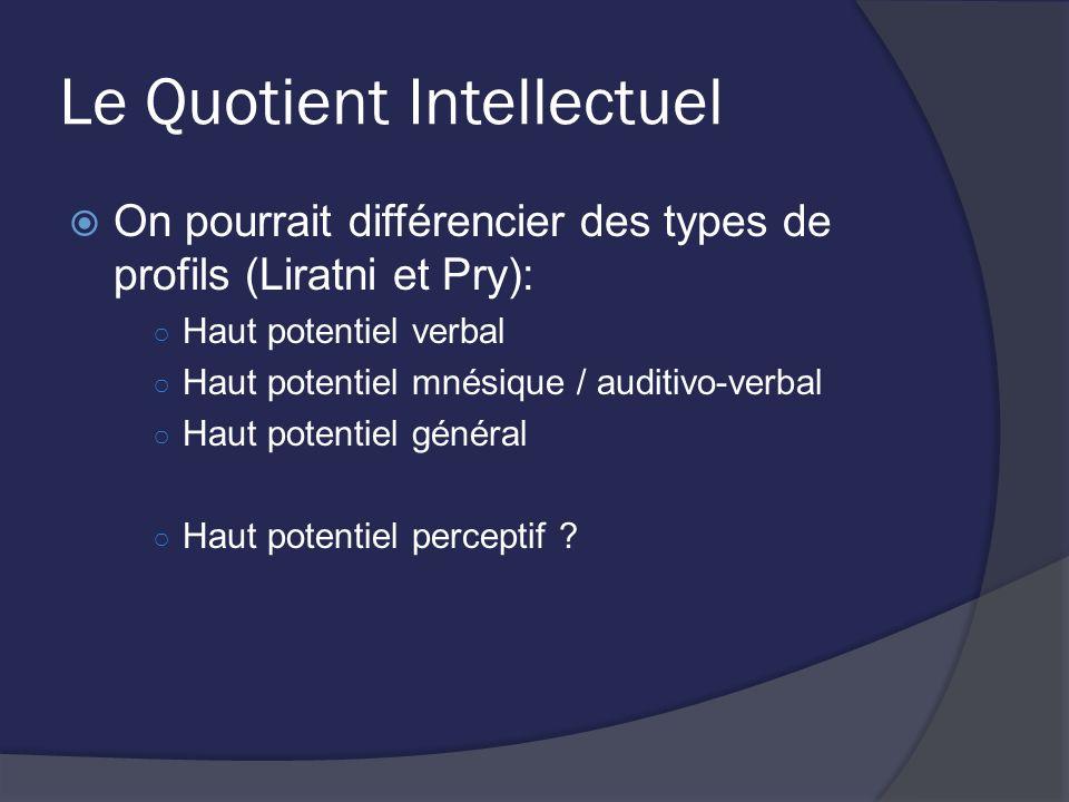 Le Quotient Intellectuel On pourrait différencier des types de profils (Liratni et Pry): Haut potentiel verbal Haut potentiel mnésique / auditivo-verb