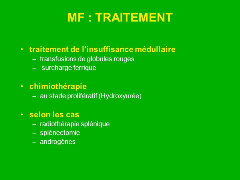 MF : TRAITEMENT traitement de l'insuffisance médullaire –transfusions de globules rouges – surcharge ferrique chimiothérapie –au stade prolifératif (H