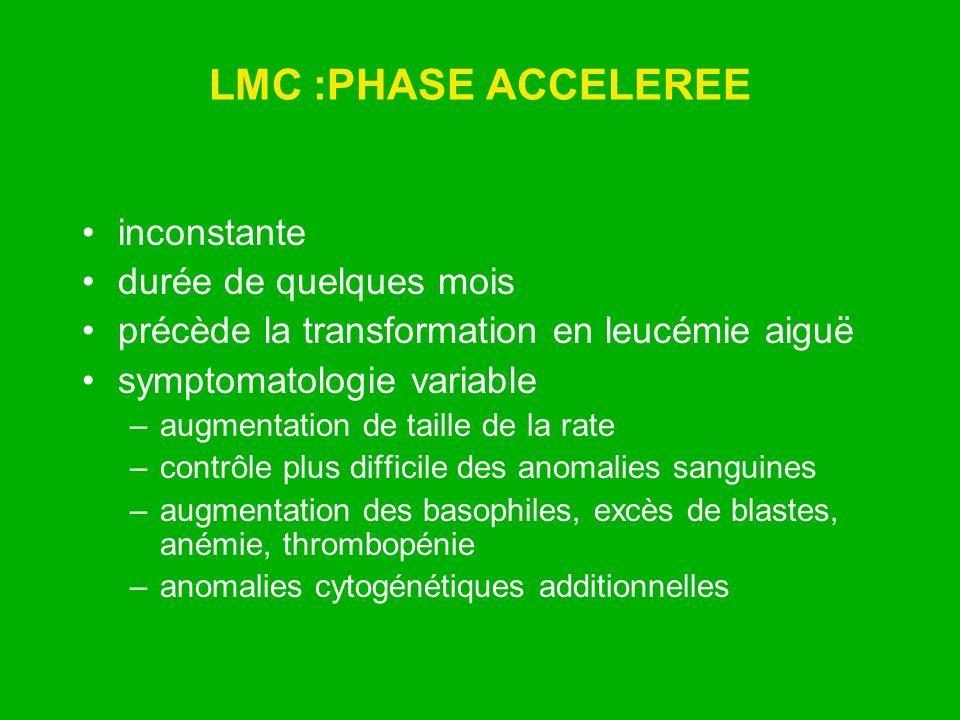 LMC :PHASE ACCELEREE inconstante durée de quelques mois précède la transformation en leucémie aiguë symptomatologie variable –augmentation de taille d