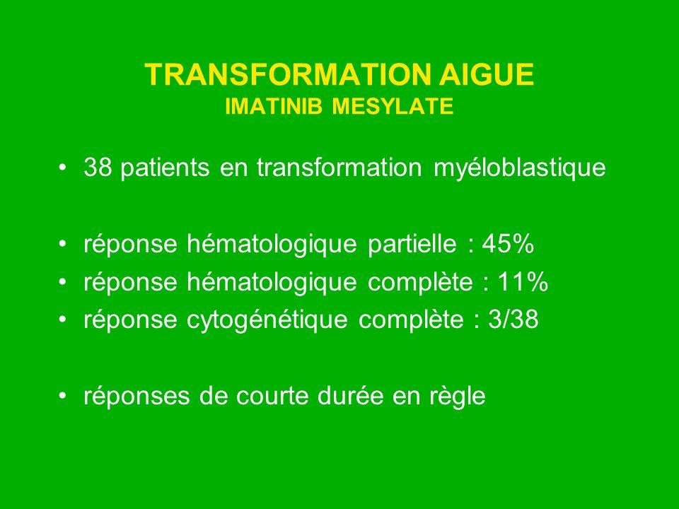TRANSFORMATION AIGUE IMATINIB MESYLATE 38 patients en transformation myéloblastique réponse hématologique partielle : 45% réponse hématologique complè