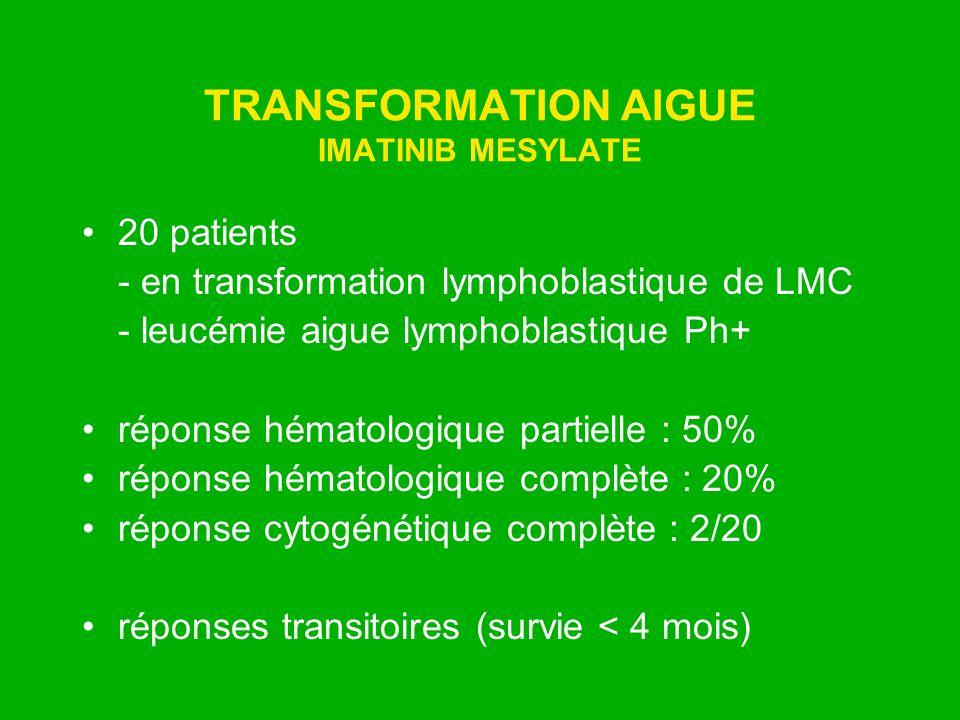 TRANSFORMATION AIGUE IMATINIB MESYLATE 20 patients - en transformation lymphoblastique de LMC - leucémie aigue lymphoblastique Ph+ réponse hématologiq