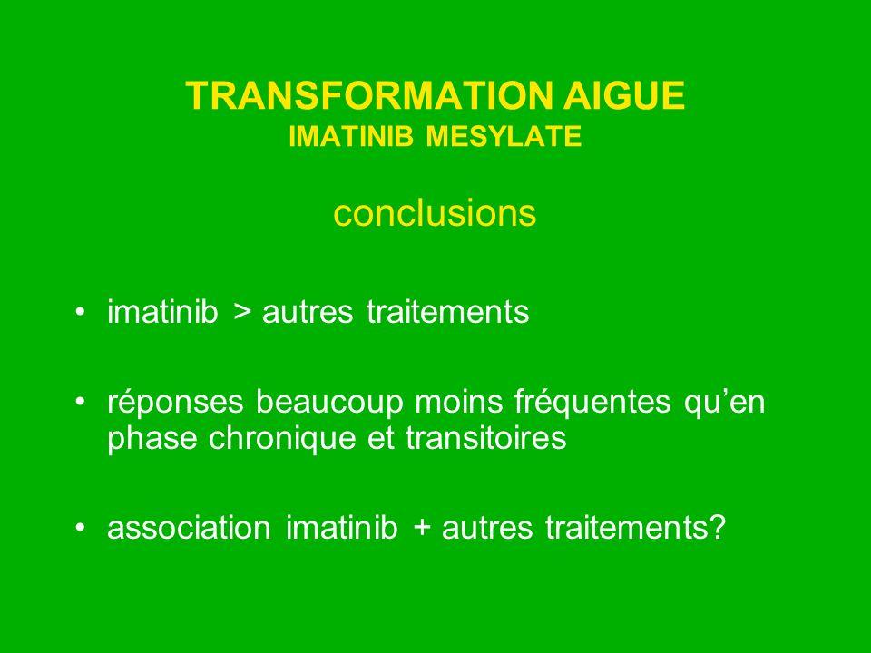 TRANSFORMATION AIGUE IMATINIB MESYLATE conclusions imatinib > autres traitements réponses beaucoup moins fréquentes quen phase chronique et transitoir