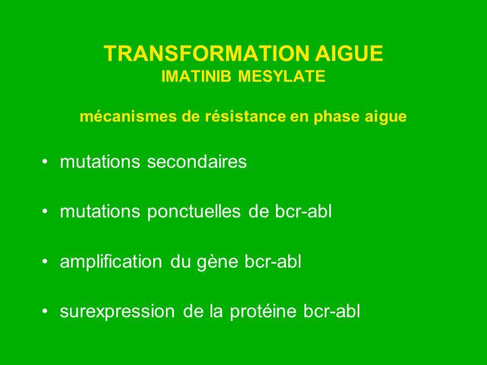 TRANSFORMATION AIGUE IMATINIB MESYLATE mécanismes de résistance en phase aigue mutations secondaires mutations ponctuelles de bcr-abl amplification du