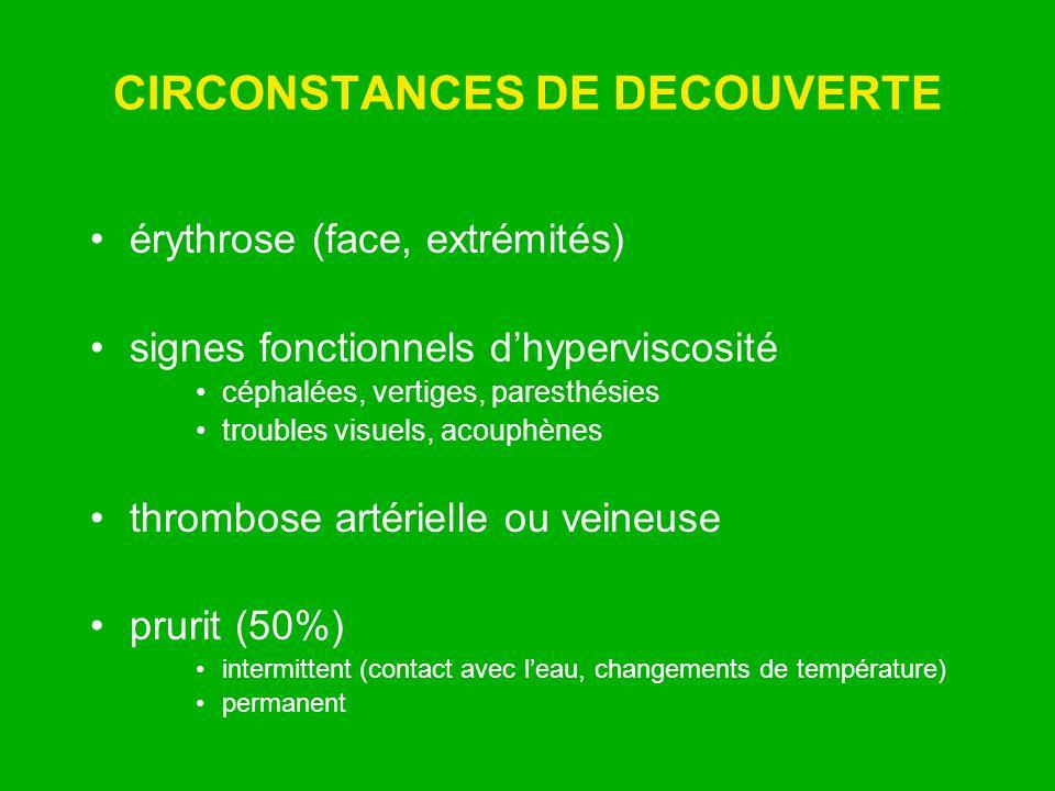 CIRCONSTANCES DE DECOUVERTE érythrose (face, extrémités) signes fonctionnels dhyperviscosité céphalées, vertiges, paresthésies troubles visuels, acoup