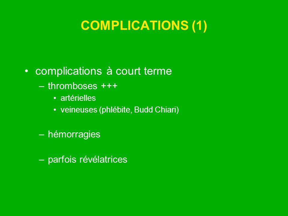 COMPLICATIONS (1) complications à court terme –thromboses +++ artérielles veineuses (phlébite, Budd Chiari) –hémorragies –parfois révélatrices