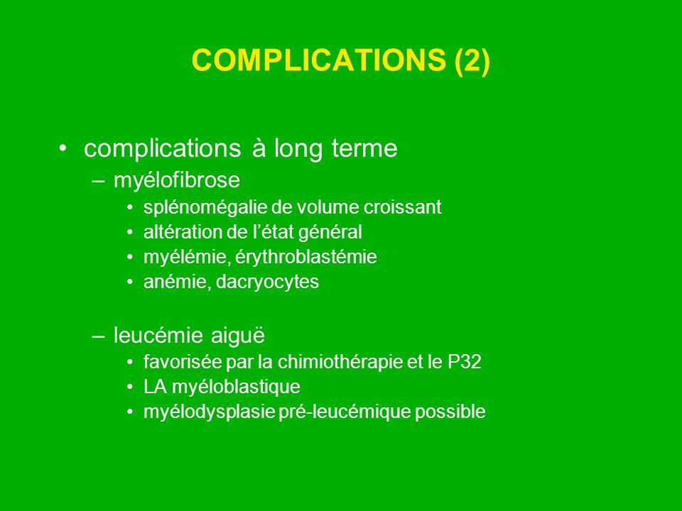 COMPLICATIONS (2) complications à long terme –myélofibrose splénomégalie de volume croissant altération de létat général myélémie, érythroblastémie an