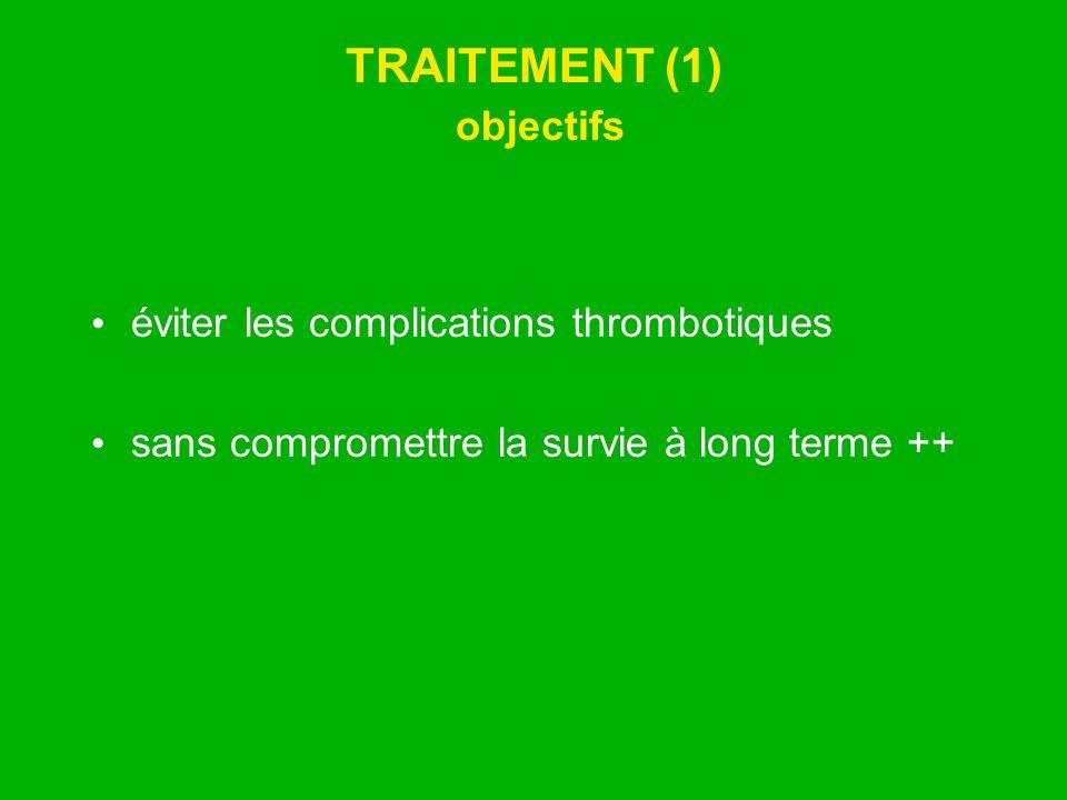 TRAITEMENT (1) objectifs éviter les complications thrombotiques sans compromettre la survie à long terme ++